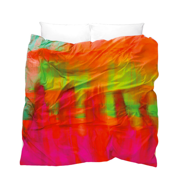 Artistic duvet cover Apsara design with orange pink green colour