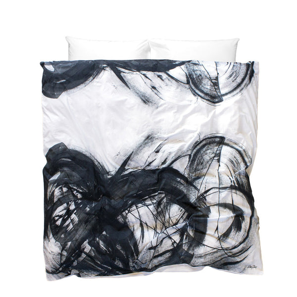 Artistic Duvet Cover Through Brambles on the Moon design white background with black brush strokes