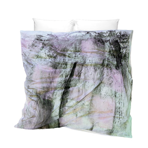 Unique Duvet Cover Rose Metal Cement Mix design soft pink green with gray cement texture