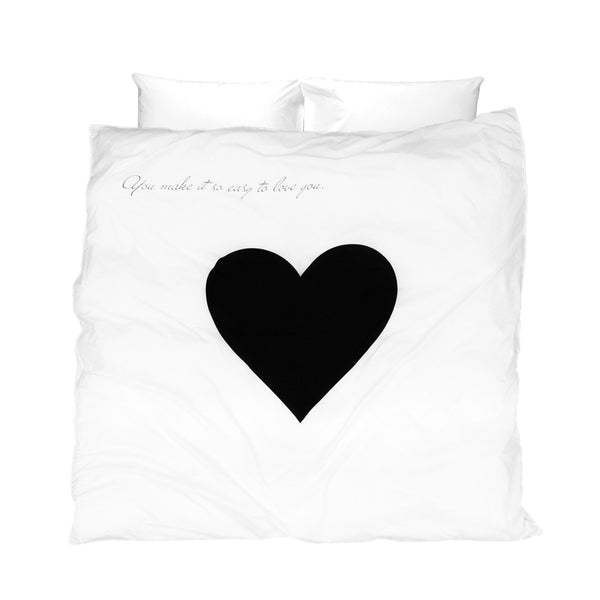 White and black duvet cover with heart and message You make it so easy to love you