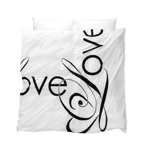 Love Song Duvet Cover - love in black typography on white background