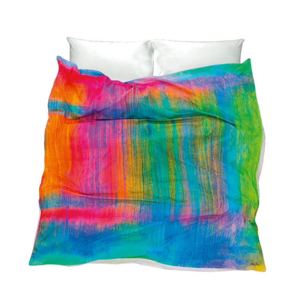 Fun Duvet Cover pink blue green orange colours Tropical Frost on a North-Facing Window design