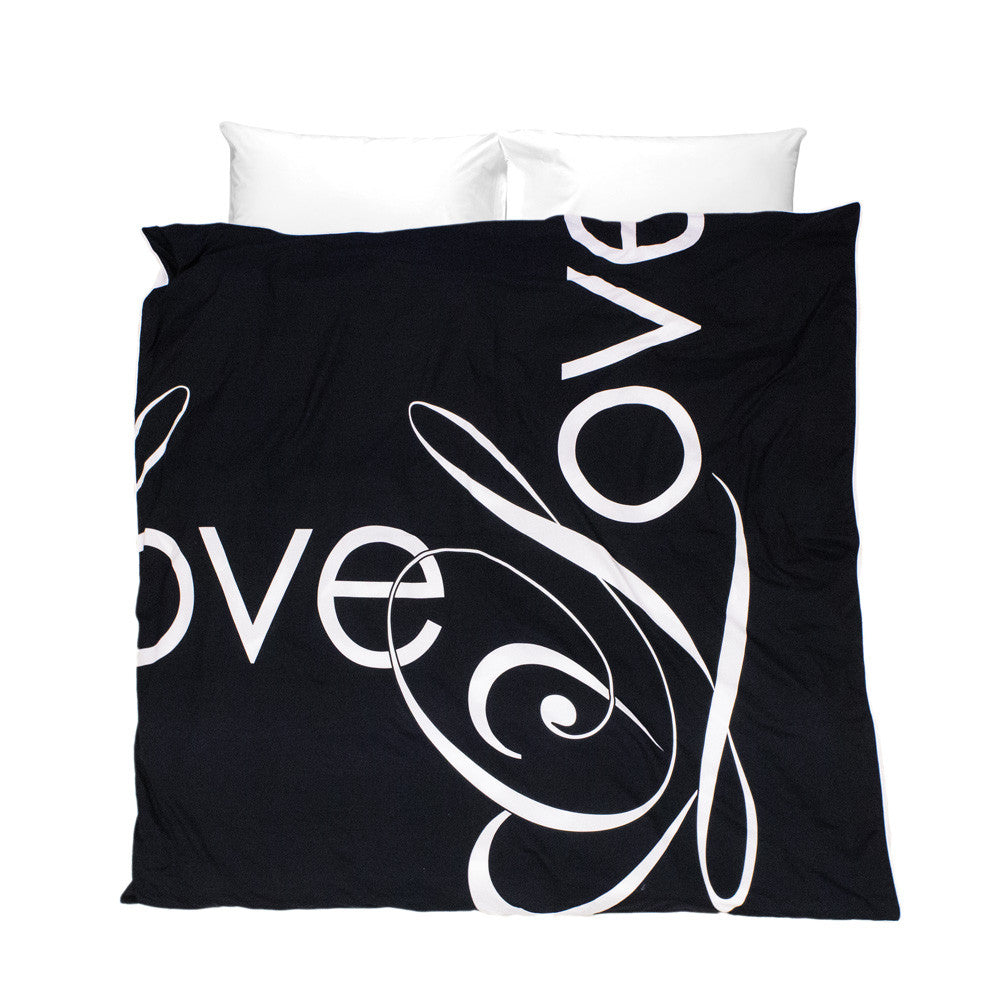 Penguin Love Duvet Cover - white Love script typography on black background