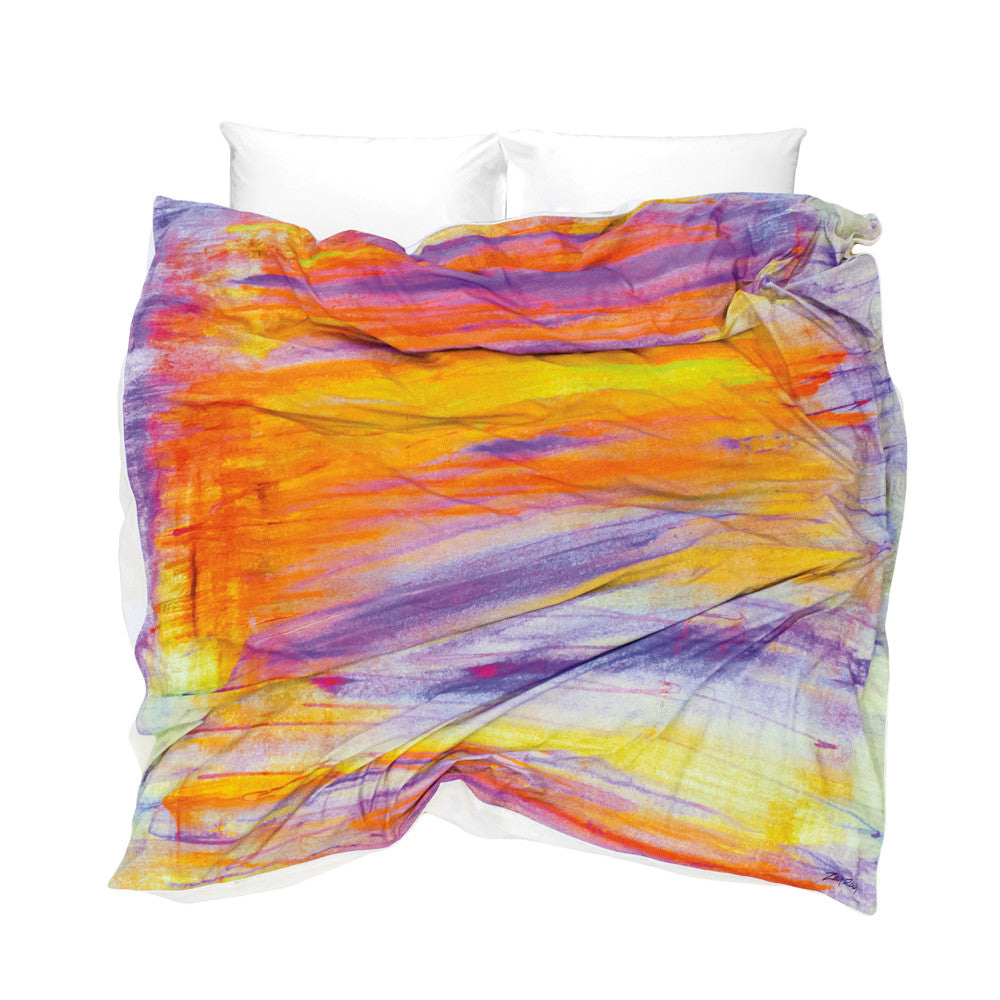 Unique duvet cover La Nuit Tombante en Printemps design orange yellow purple colours like pencil sketches