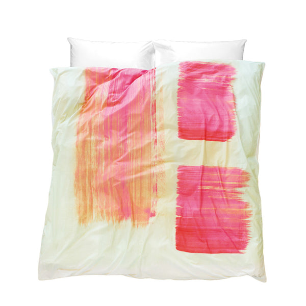 Artistic Duvet Cover So Jess design soft cream pale green background with bold pink brush strokes