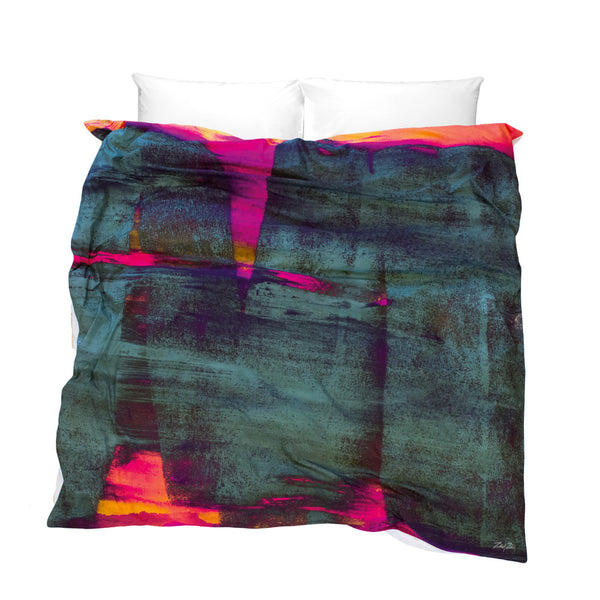 Unique Duvet Cover cement gray with bold pink orange highlights Release of the Unconscious design
