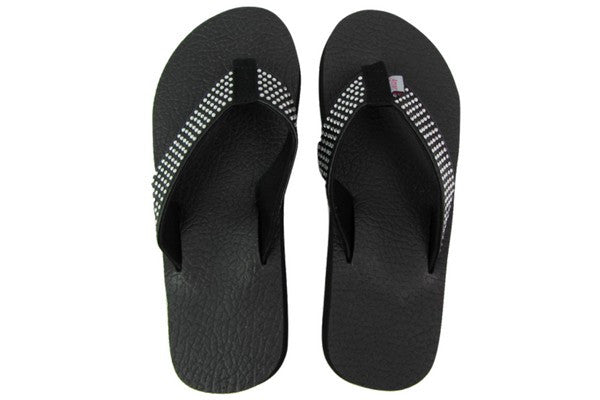 Amor Black Rhinestone Yoga Mat Flip Flops Top View