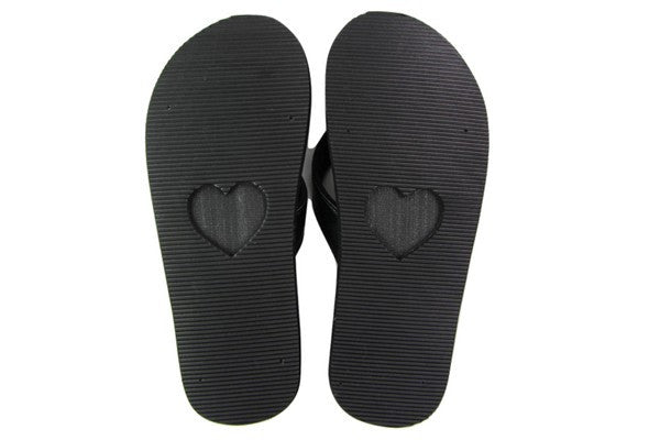Amor Black Yoga Mat Flip Flops Bottom View