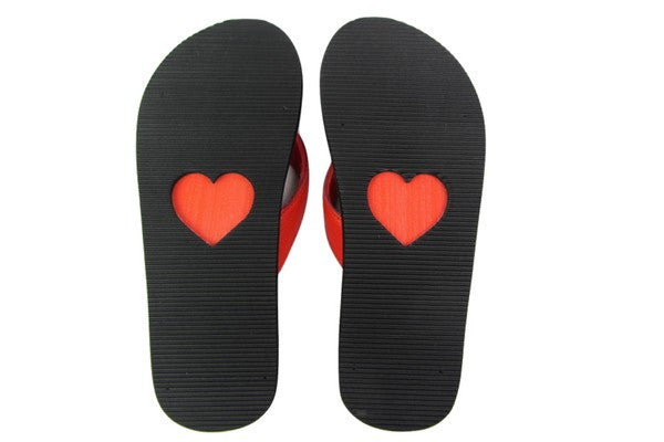 Amor Red Yoga Mat Flip Flops Bottom View