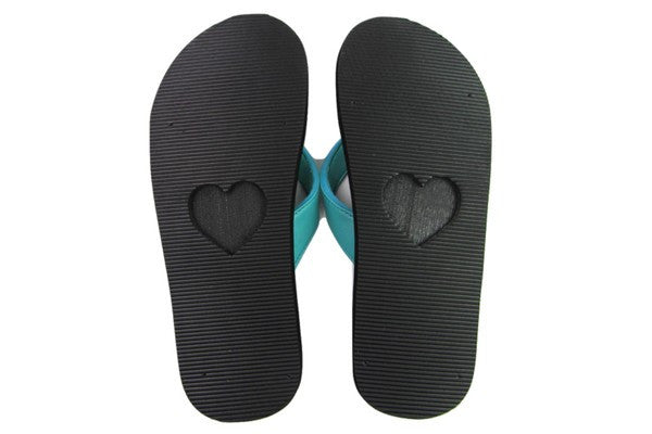 Amor Teal Yoga Mat Flip Flops Bottom View