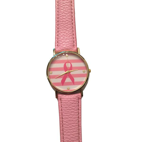 Cancer Awareness Watch With Leather Band
