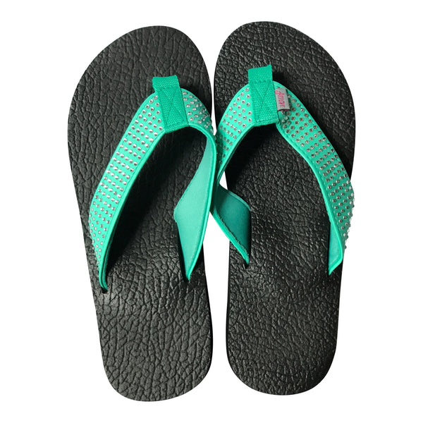 Amor Teal Rhinestone Yoga Mat Flip Flops for Women - Leave An Impression