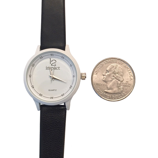 Women's Black Leather Watch By Impact Time Pieces