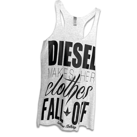 AB Diesel Makes Her Clothes Fall Off (Heather White & Black)-Luckless Outfitters Country Music Lifestyle Clothing And Apparel