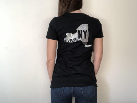 AB New York State Glitter Tee-Luckless Outfitters Country Music Lifestyle Clothing And Apparel