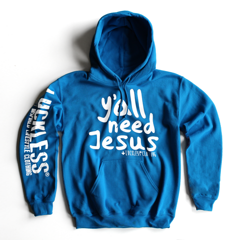 AB Y'all Need Jesus Hoodie-Luckless Outfitters Country Music Lifestyle Clothing And Apparel