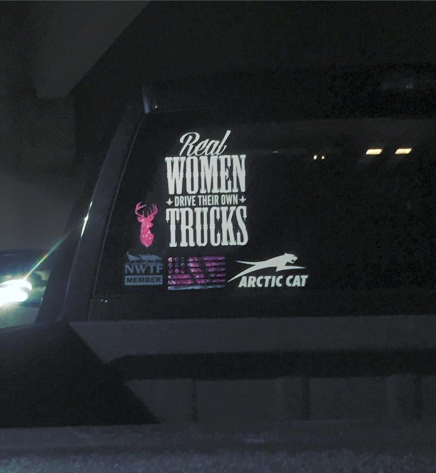 Real Women decal (White) - Luckless Outfitters - Country - Apparel - Music - Clothing - Redneck - Girl - Women - www.lucklessclothing.com - Matt - Ford Parody - Concert - She Wants the D - Lets Get Dirty - Mud Run - Mudding -