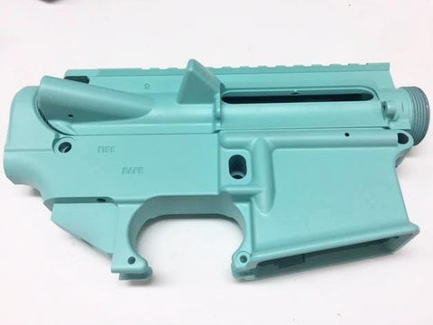 AR15 Upper Receiver and 80% Lower Receiver Set Tiffany Blue Cerakote
