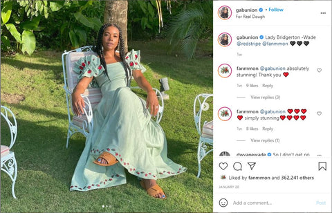 Gabrielle Union in our beautiful Alanya Dress in Mint Green