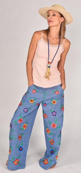 Fanm Mon SS17 HIPPY Vyshyvanka Pants Embroidered Denim Blue Linen Multi Color Floral Embroidered Pants In Stock SIZE MEDIUM