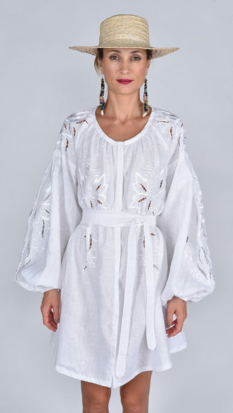 Fanm Mon SS17 LARA Vyshyvanka Mini Dress Embroidered White Linen White Cut Out Embroidery Dress