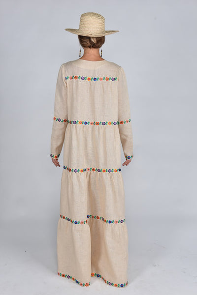 Fanm Mon SS17 MAYA Vyshyvanka Maxi Dress Embroidered Cream Linen Floral Embroidered Dress