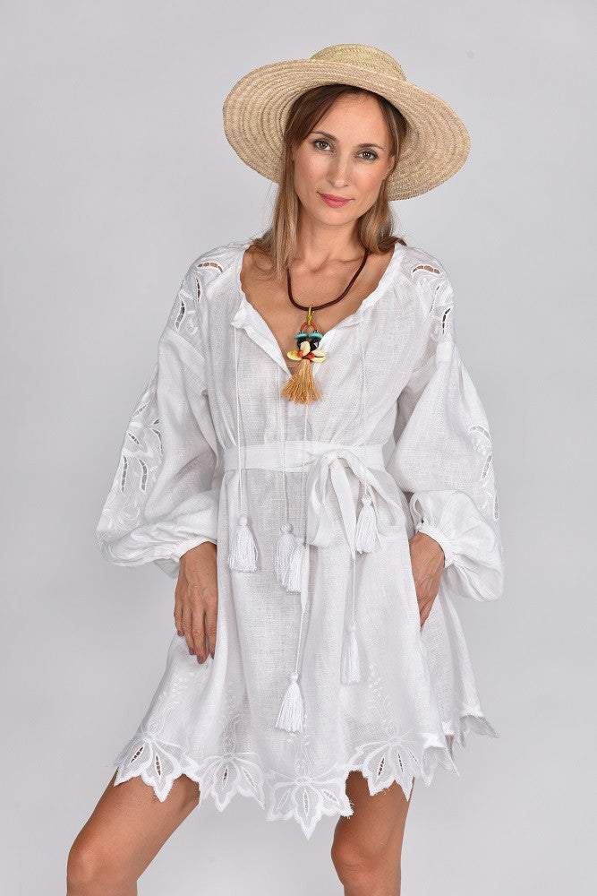 Fanm Mon FLORIE Vyshyvanka Mini Dress Embroidered Cut Out Style White Linen White Embroidery Leave Detailed Uneven Dress