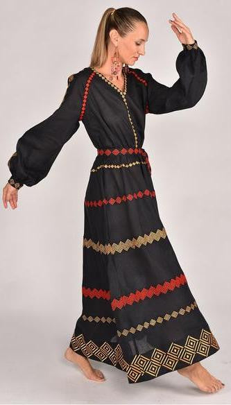 Fanm Mon CARMEN Vyshyvanka Maxi Dress Embroidered Black Linen Metalic Gold Red Embroidered Dress