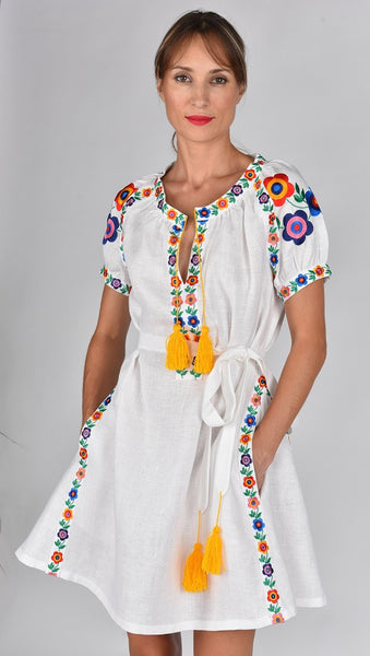 Fanm Mon SS17 MARLA Vyshyvanka Mini Dress Embroidered White Linen Multi Color Floral Embroidered Dress