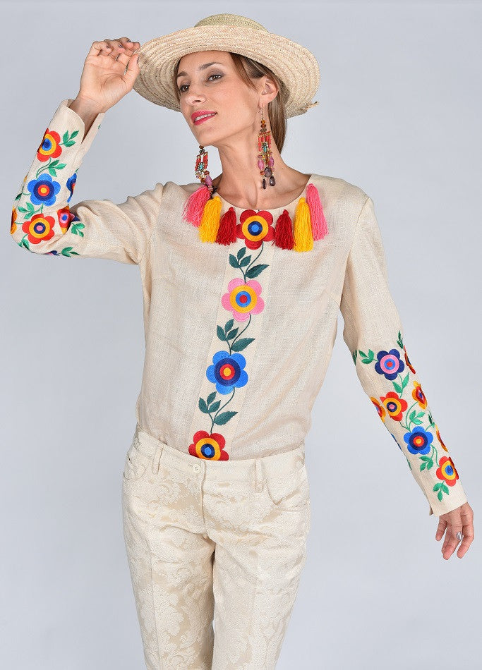 Fanm Mon FEMME Vyshyvanka Top Embroidered Multi Color Floral Blouse