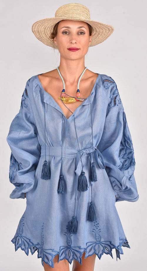 Fanm Mon BAYA Vyshyvanka Mini Dress Embroidered Denim Blue Linen Blue Cut Out Embroidery Dress