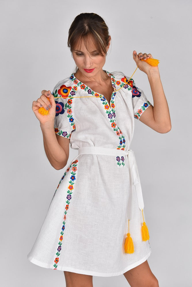Fanm Mon MARLA Vyshyvanka Mini Dress Embroidered White Linen Multi Color Floral Embroidered Dress