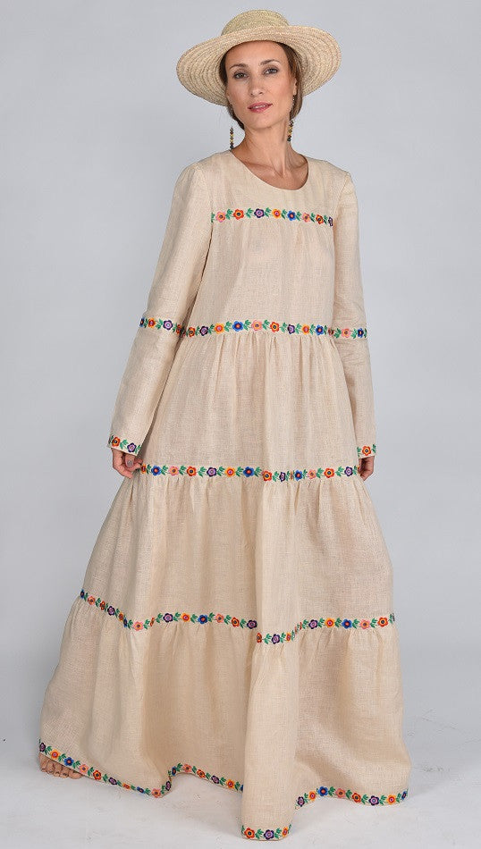 Fanm Mon MAYA Vyshyvanka Maxi Dress Embroidered Blush MAXI Linen Floral Embroidered Dress