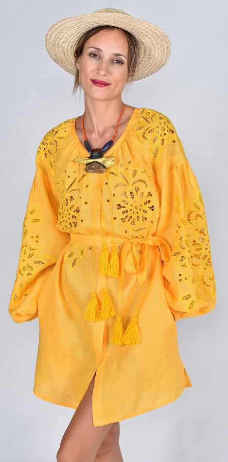 Fanm Mon BEA Vyshyvanka Mini Dress Embroidered Yellow Linen Cut Out Style Dress