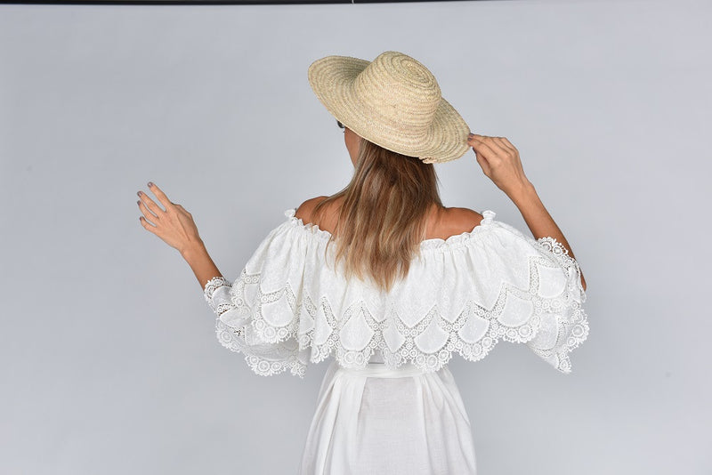 Fanm Mon ANGEL Vyshyvanka Maxi Dress Embroidered White Linen Cut Out Dress