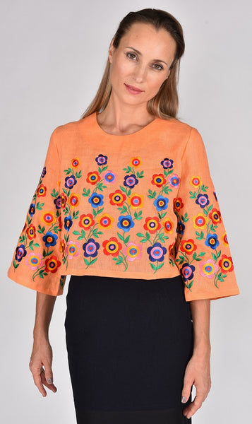 Fanm Mon SS17 DAISY Vyshyvanka Top Embroidered Orange Pale Fabric Multi Color Floral Embroidery Fun Blouse