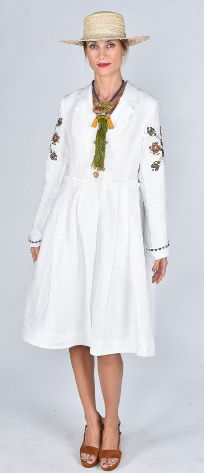 Fanm Mon SS17 PURE Vyshyvanka Jacket Dress Coat Cardigan Embroidered White Linen Green Floral Embroidered Dress In Stock SIZE MEDIUM