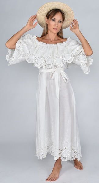 Fanm Mon SS17 ANGEL Vyshyvanka Maxi Dress Embroidered White Linen Cut Out Dress