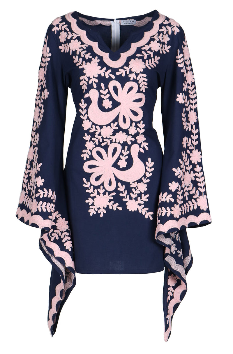 Fanm Mon Navy Cotton Dress Pink Ari Embroidery Pink Shell Mini Kaftan