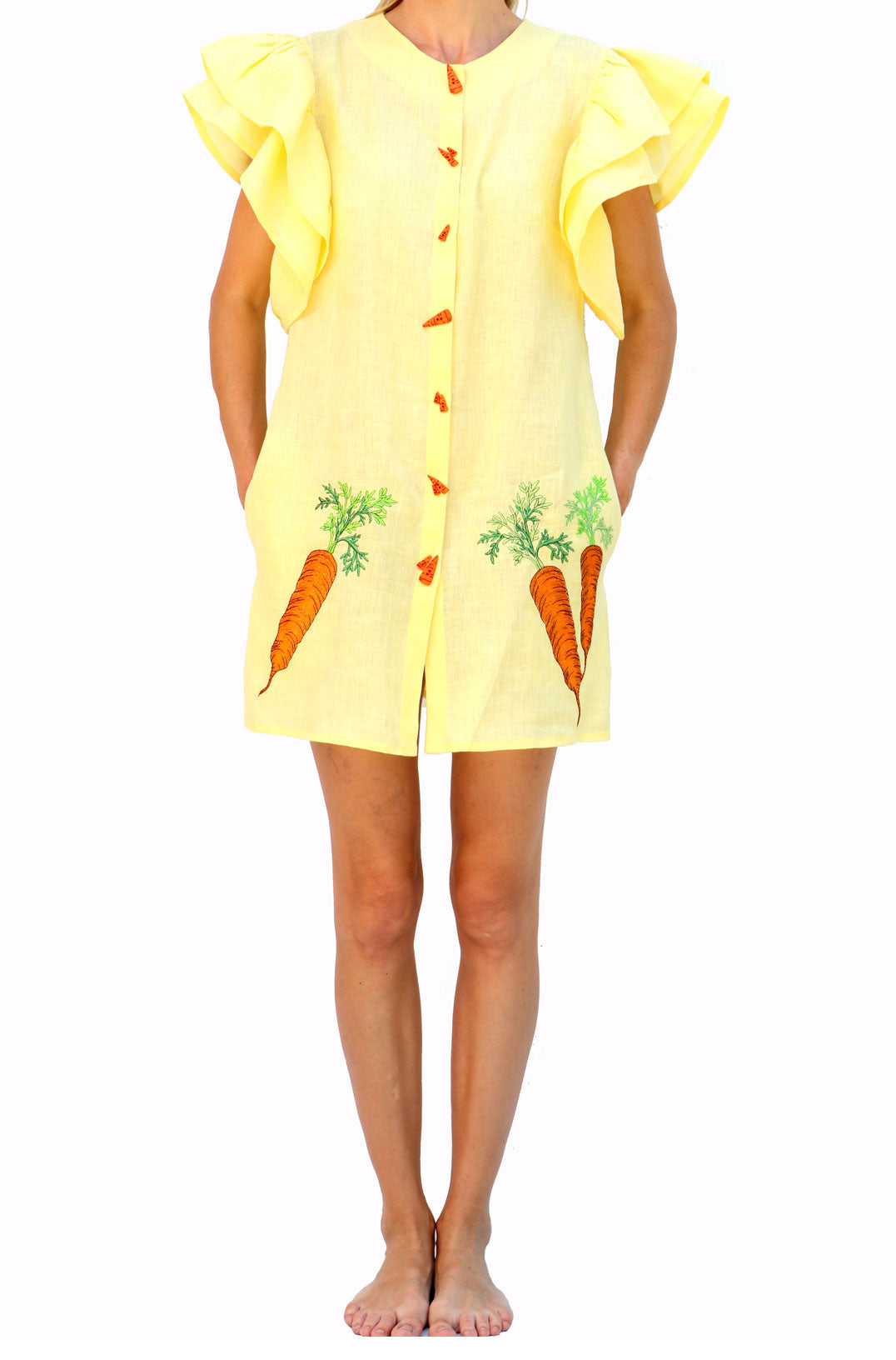 Fanm Mon CARROT Yellow Linen Food Veggies Embroidery Vyshyvanka MINI Dress