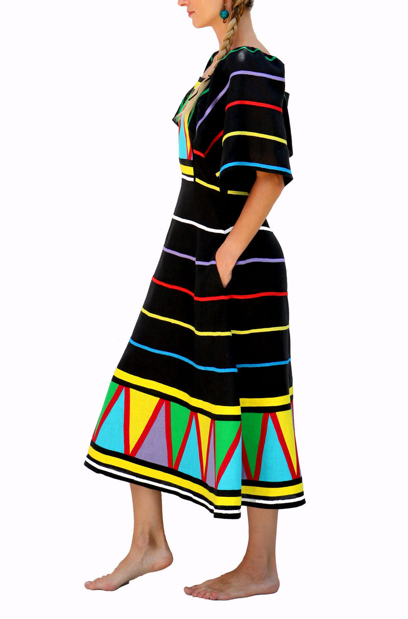 Fanm Mon Black Linen, Multi- color striped Embrodery Midi Dress size XS-XXL SRTP002