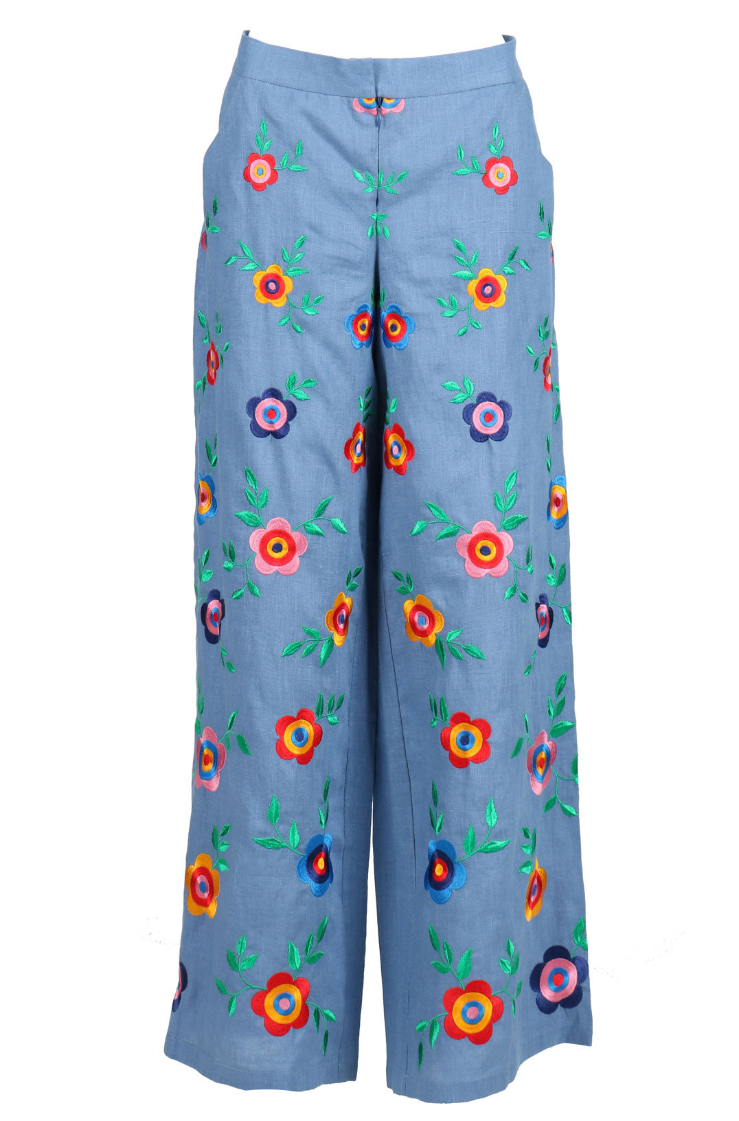 Fanm Mon HIPPY Vyshyvanka Pants Embroidered Denim Blue Linen Multi Color Floral Embroidered Pants