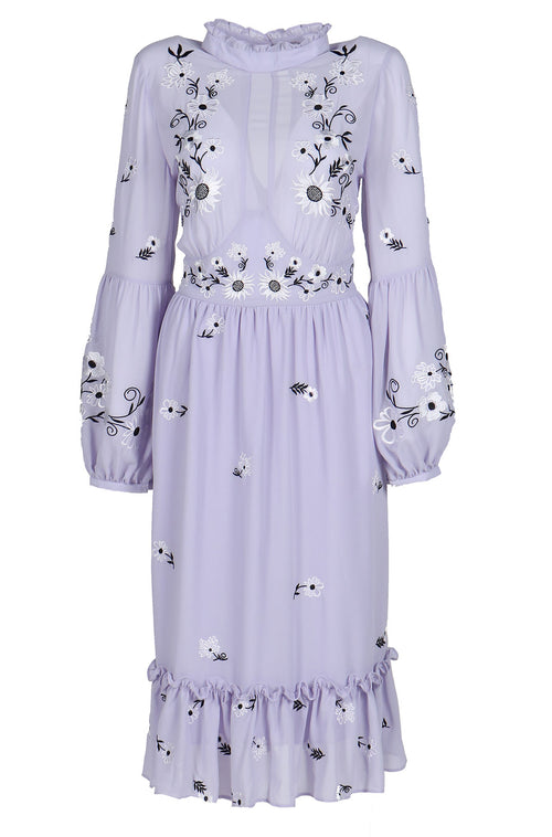Fanm Mon Lilac Linen Black White Embroidery Vyshyvanka Knee Length Dress size XS-XXL KL0100