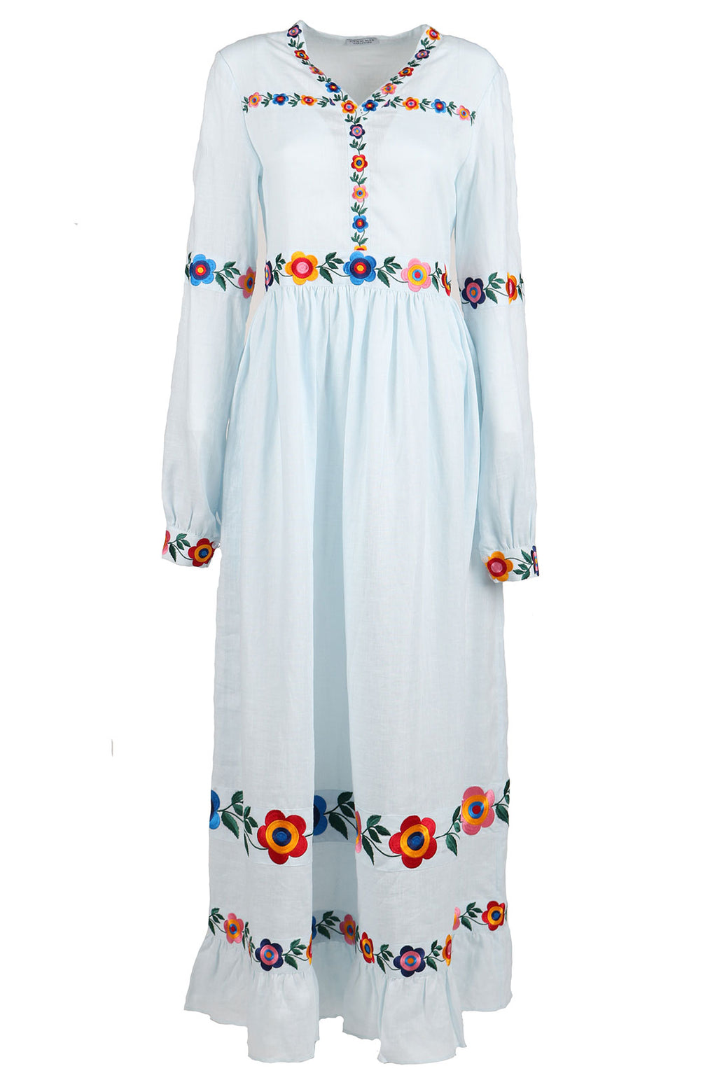 Fanm Mon BOHEME Vyshyvanka Light Blue Linen Multi Floral Embroidered MAXI Dress