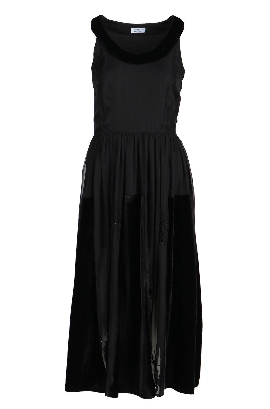 Fanm Mon ROND Black Chiffon Velvet Handmade Hand Beaded Midi Dress