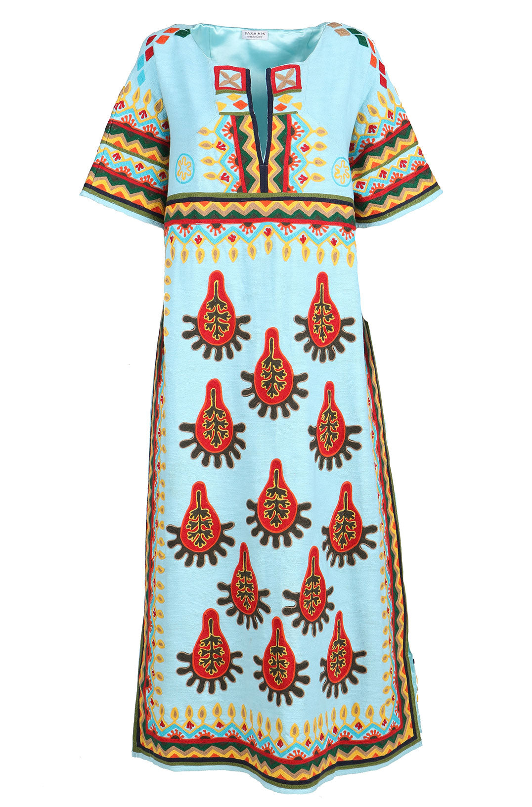 Fanm Mon TEKA Aqua Blue Vyshyvanka Multi Color Summer Fun Geometric Pattern MIDI Dress