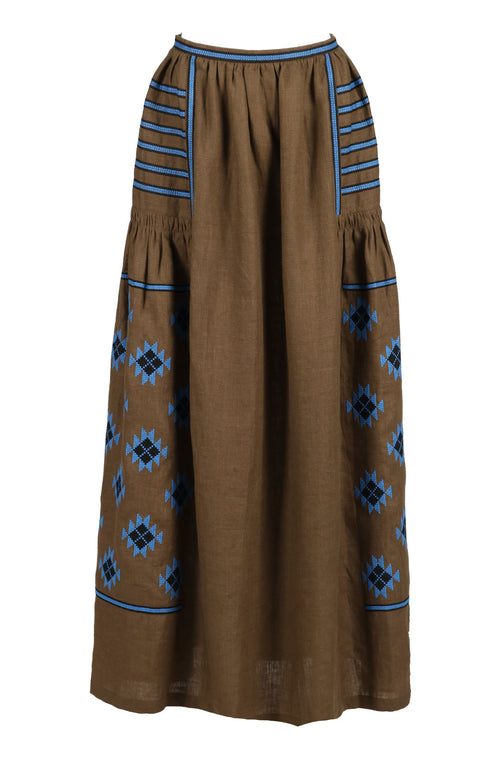 Fanm Mon Rustic Olive Linen Blue Black Vyshyvanka Maxi Skirt Blue Black Embroidery. Sizes - XS-XXL SHP003