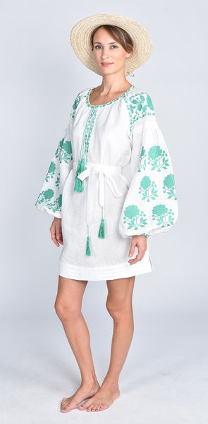 Fanm Mon SS17 LESLIE Vyshyvanka Mini Dress Embroidered White Linen Green Embroidered Dress