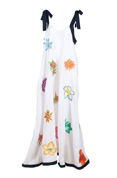 Fanm Mon IN STOCK LABADIE White Navy Linen Exotic Tropical Floral Embroidery Vyshyvanka MAXI Dress