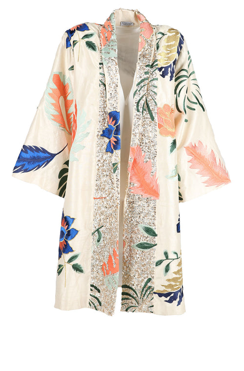 Fanm Mon LOLA Vyshyvanka Silk Taffeta Jacket Embroidered Cream Multi Floral Color Jacket